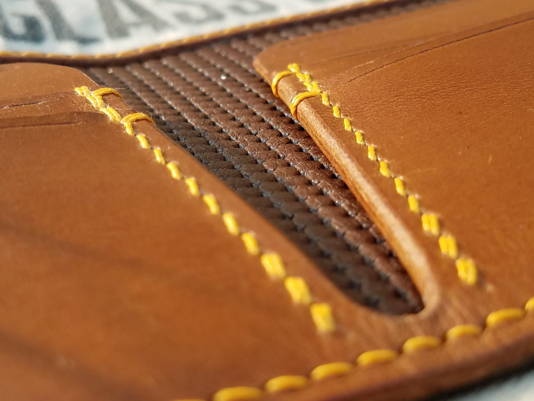 Hand Made Leather Wallet Stitching