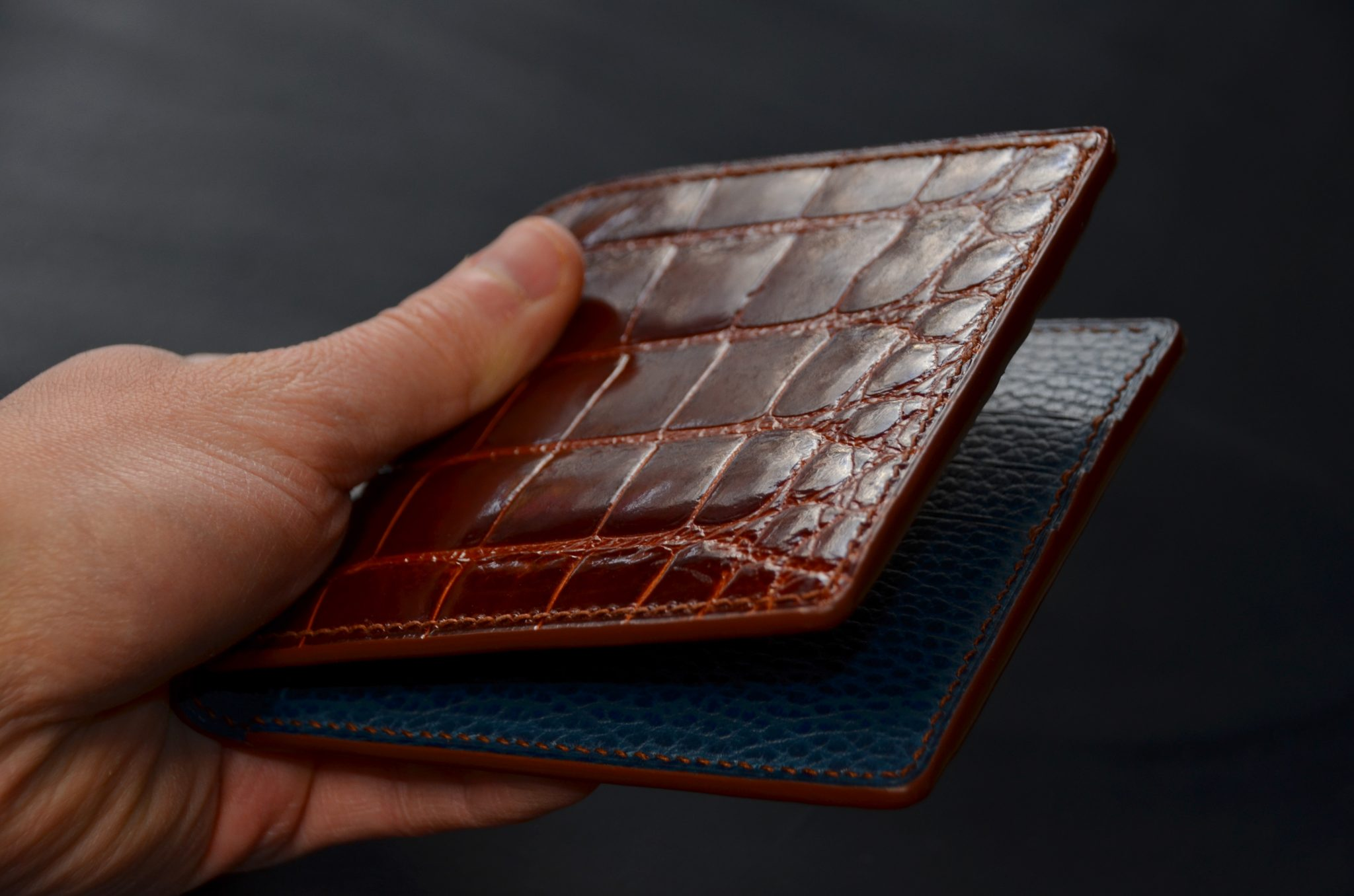 Leather Alligator Bifold Wallet