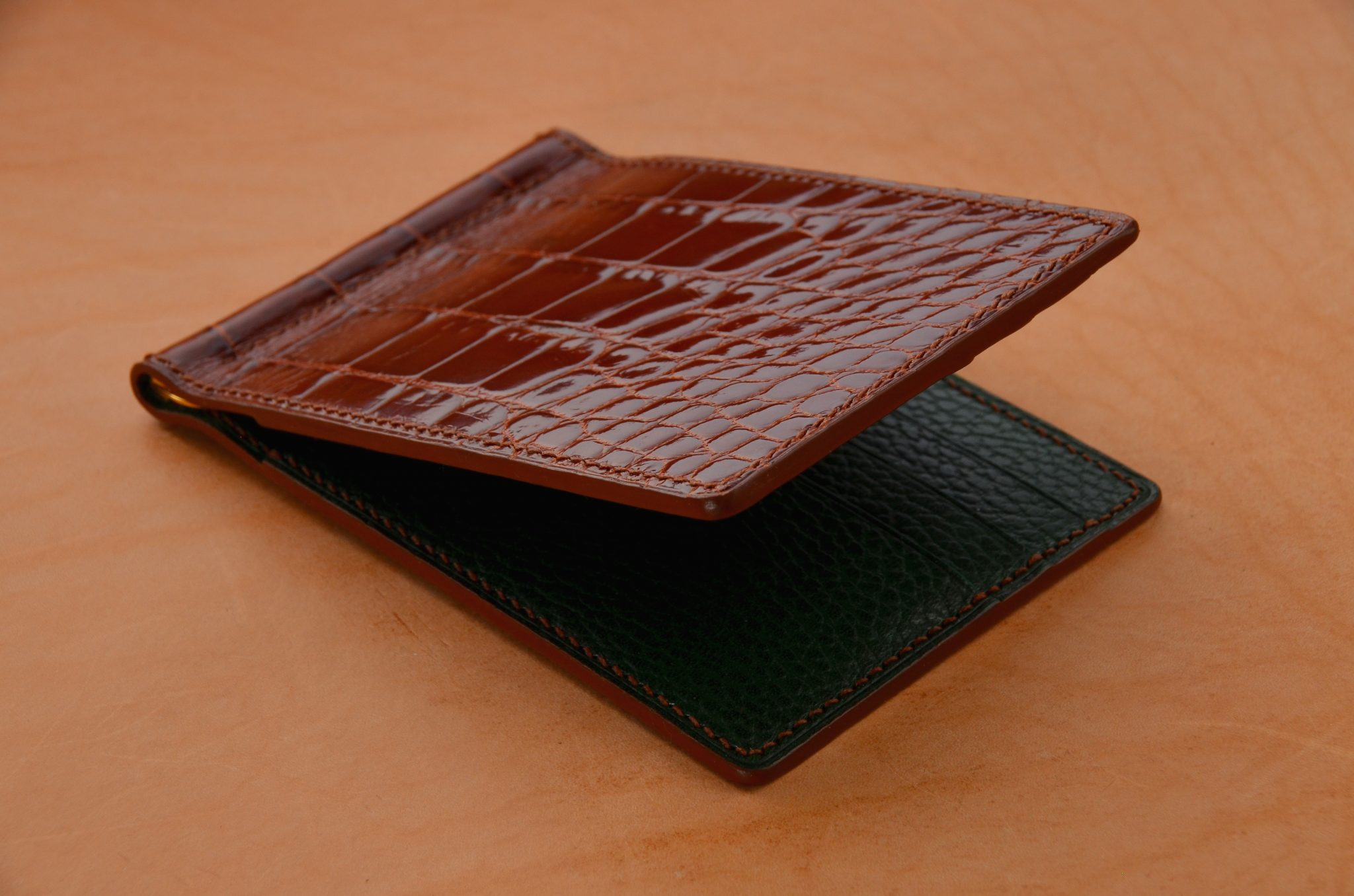 Leather Alligator Money Clip Wallet